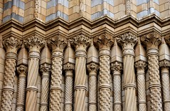 Detail of Entrance Arch, Natural History Museum (shadow_in_the_water) Tags: gradeilisted 187381 alfredwaterhouse entrance columns capitals romanesquestyle arch victorianarchitecture naturalhistorymuseum cromwellroad southkensington london sw7