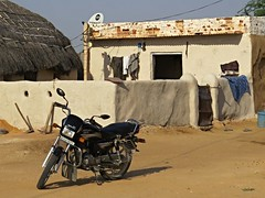village rajasthan (gerben more) Tags: india house wall village hut motorcycle motor rajasthan
