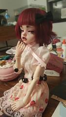 Crimson finally has a faceup! (strawberrysscribbles) Tags: crimson doll mind bjd dim laia
