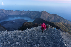 rinjani mount summit attack (sydeen) Tags: rinjani hiking backpack adventure hike hiker tropical travel sembalun climbing rock success indonesian lombok indonesia active volcanic trekking pebbles people top asia climber vast tourist crater standing senaru high climb blue mountain tropic altitude sky sports cliff pole extreme track peak man journey asian sport volcano landscape
