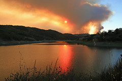 Chesbro Reservoir (ofarrl) Tags: usa california morganhill chesbroreservoir santaclara southbay lomaprieta wildfire smoke sunset westcoast santacruzmountains calfire lomafire