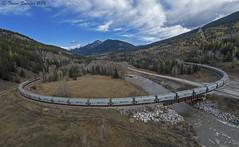 The Loop (Trevor Sokolan) Tags: sparwood britishcolumbia canada ca canadian cp cpr canadianpacific fabro up unionpacific potash unit unittrain es44ac ge generalelectric canpotex cranbrooksub mountain mountains dji djiphantom drone trains train trainspotting tracks transportation loop curve railway railroad railfan rail railfanning