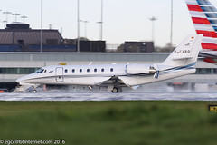 D-CARO - 2013 build Cessna 680 Sovereign+, arriving on a damp Runway 23R at Manchester (egcc) Tags: 6800514 awe aerowest bizjet ce680 cessna cessna680 citation dcaro egcc lightroom man manchester n683ab ringway sovereign