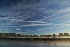 Cirrus and shallow fog (matt.clark25) Tags: cirrus sky clouds contrails contrail river fog shallowfog morning autumn exe riverexe