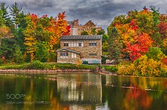 The Building on the Lake (PhiladelphiaHVAC165) Tags: autumn hdr water ithaca cornell university upstate ny cornelluniversity upstateny