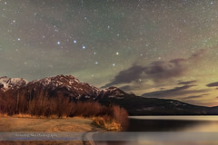 Big Dipper over Pyramid Mountain (Dark Sky) (Amazing Sky Photography) Tags: alberta autumn bigdipper circumpolar constellation jaspernationalpark pyramidlake pyramidmountain haze