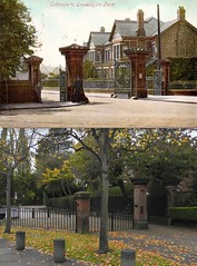 Cressington Park Entrance, Grassendale,  1905 and 2016 (Keithjones84) Tags: liverpool oldliverpool merseyside history localhistory thenandnow rephotography allerton cressington grassendale