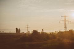 Morning Glory (mripp) Tags: sun sunrise sonnenaufgang strm stromtrassen energy nordsdachse strom electricity power lines landscape landschaft bavaria bayern germany deutschland europe europa franken forchheim franconia beauty nature natur beautifull fromthetrain sony alpha7rii walberla ehrenbrg frnkische schweiz