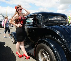 Holly_7325 (Fast an' Bulbous) Tags: car automobile vehicle people outdoor oldtimer classic santa pod dragstalgia girl woman hot sexy skirt dress wiggle high heels red stilettos silk seamed stockings long brunette hair chick babe model pinup sunglasses