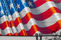 Put another quarter in the meter (Leaning Ladder Photography) Tags: easton pennslvania lehighvalley flag redwhiteblue streetart graffiti mural stripes stars red blue street unitedstates liberty leaningladder canon 7d