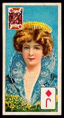Cigarette Card - Jack of Diamonds (cigcardpix) Tags: cigarettecards advertising ephemera vintage beauty playingcard