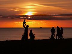 Brighton Sunset (Darren-Holes) Tags: brighton sunset beach sussex dusk colour sea englishchannel people silhouette light dark shadow sun westpier brightonpier palacepier pier groyne