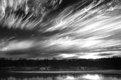 Cedar River Wispy Clouds (Rh+) Tags: iowa river landscape clouds wispy interesting cedar blackandwhite bow bw nikon d800 mountvernon