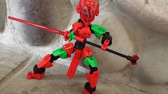 Scarlet Rose. (TTV 12 Days of Christmas: Day 2) (RaptorTalon) Tags: rose red bionicle hero factory lego moc green christmas flowers