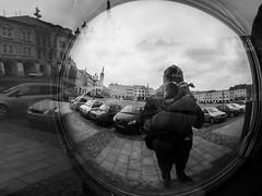 The reflections (martinvaculk) Tags: czechrepublic hana kromeriz blackwhite bw reflex street