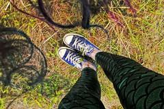 Mer-Mist (iii) (sarah-sari19) Tags: june summer grass ground shoes hair mermaidhair curls lookingdown girl feet blue green converse leggings scales mermaid vivid colorful wildhair