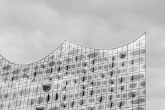 - Melting Look UP II - (Mr. LookUP) Tags: 2016 hamburg germany zoom canon clouds building architecture abstract abstractarchitecture unique blackandwithe bw windows cristal glass facade