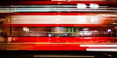 Not Stopping (Sean Batten) Tags: london england unitedkingdom gb bus blur red city urban night waterloo nighttime nikon df 35mm
