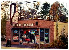 Deluxe Package Store, Winsted, CT (63vwdriver) Tags: sign bulb vintage us store neon connecticut ct route liquor faded storefront package 44 winsted