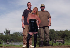 on a hot summers day 005 (team stalker) Tags: woman lake sexy stockings panties fishing shiny boots blonde fishnets carp satin milf pvc sexylegs carpie