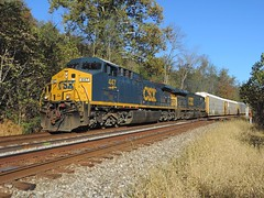 CSX 447 and 643 Q277-12 (Trains & Trails) Tags: railroad train october diesel pennsylvania engine transportation locomotive ge broadford csx autorack fayettecounty 643 447 ac44cw darkfuture yn3 widecab q27712