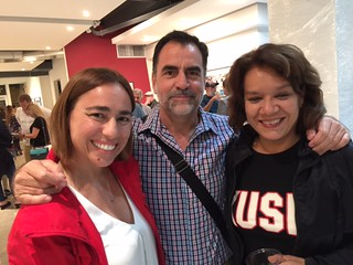 Pablo and Marisa Soria with artist Evelyn Valdirio the Aluna Foundation opening