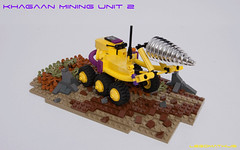 01_Khagaan_mining_Unit_2 (LegoMathijs) Tags: legomathijs moc lego scifi space khagaan mining unit 2 microscale purple yellow planet miners wheels rigid hose tube chrome drill