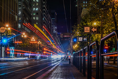 advance 9 (pbo31) Tags: sanfrancisco california september fall 2016 boury pbo31 nikon d810 color financialdistrict night dark marketstreet city muni bus 9 black urban stop infinity lightstream traffic roadway motion