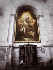 """""""The Penitent under the colour of Heaven"""" On the road to enlightenment 4 (marksedgwick55) Tags: soul enlightenthe penitent confessional cathedral larochelle confession church monochrome colour texture creative"""
