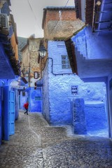 Chefchaouen Street Scene (David K. Edwards) Tags: bluecity rifmountains chefchaouen morocco moroc blue schoolchild