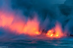 The four elements - Big Island (Captures.ch) Tags: 2016 bigisland black blue born brown dusk elements fire gray hawaiivolcanoesnationalpark hawaii landscape lava nature new night ocean orange perfection pure red sea smoke steam stones travel usnationalparkservice volcano water waves wild yellow