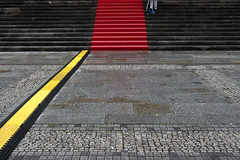 the way to glory (crosslens) Tags: stairs stairway redcarpet cleaning yellow cobblestone red
