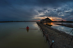 Salt flats.  Thailand. (grantthai) Tags: thailand salt saltflats fisheye dawn sunrise