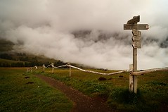 directional fence (JossieK) Tags: directions path signpost grass clouds mist fog seiseralm fence