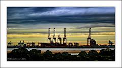 Liverpool Docks (Explore 3/12/16) (Fermat48) Tags: megamax cranes liverpool2docks rivermersey newbrighton silhouette water breakwater groynes rocks