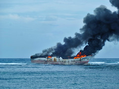 Offshore Inferno (BxHxTxCx (using album)) Tags: bali denpasar kapallaut ship kapal fire kebakaran rant