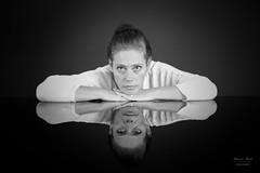 Portrait of woman in black and white in mirror (alexander.dischoe) Tags: portrait portrt lady woman frau mirror spiegel spiegelung spiegelreflex fx dslr d800e nikon nikond800e nikon2470mm 2470mm bw blackandwhite blackwhite