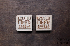 Wood Magnets - Pacific Northwest Lifer and Happy Places Series (thea superstarr) Tags: lasercut laserengraved pacficnorthwest pnw pacific northwest lifer pacificnorthwestlifer 6by6arts happyplaces happyraincloud happy treehappy mountaini cloud pnwmade in usa handmade