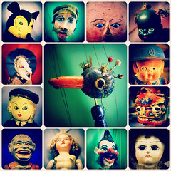 Dollage Collage (Jason 87030) Tags: doll bird porcelain animal mickey mouse face eyes lipstick brading museum toys girl holiday 2016 island isleofwight antuque miontage collage arty farty artistic arrangement creativ color colour square frame border strings puppets gimp black faces crab claw hat dog monjkey creepy freeky disturbing weird odd unusual picmonkey hair strange body parts collective collection images