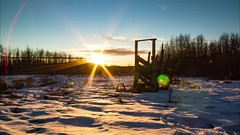 Rustic Themed Prairie Winter sunset4 (Ferintosh Farms Photography) Tags: prairie alberta canada sunset rustic timelapse animation snow winter frozen abandoned landscape photography wild grass plains clear sky blue