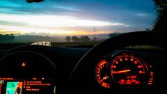 A mini morning. (von8itchfisk) Tags: morning commute open road sunrise mini bmw cooper s red dials shepherds warning battisford henny kill vonbitchfisk car ride wheels drive cameraphone barking suffolk
