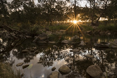 Gara River (Eduardo_il_Magnifico) Tags: water river creek rocks sunset trees green colour sky reflection starburst nature outdoors armidale newengland newsouthwales nsw australia nikond750 sigma24mmf14 nisi 3stopsoftgrad tripod