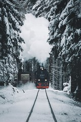 Winter wonderland. (Bokehm0n) Tags: landscape nature vsco explore flickr earth travel folk 500px harz germany vscofilm winter snow railway train transportation system track no person cold vehicle ice mountain outdoors tree frost road daylight