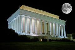 Lincoln Memorial and Super Moon (smata2) Tags: washingtondc nightshots postcard moon luna monument memorial lincolnmemorial urbannightshot wow