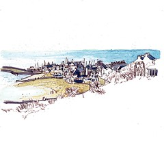 The Cobb from the Gardens, Lyme Regis (larosecarmine) Tags: lyme regis sketch drawing watercolour caroline johnson urban sketcher dorset