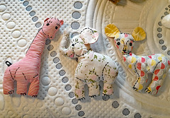 Gentle Creatures (BKHagar *Kim*) Tags: bkhagar toy toys stuffed animals giraffe elephant deer vintage fabric quilt sale estatesale