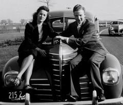 1946 (Crawford Brian) Tags: mom dad car 1946 illinois blackandwhite found plymouth bw monochrome blackwhite family westernillinois forgottonia