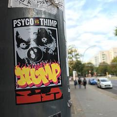 Street stickers (mcknightpercy) Tags: psyco thimp sticker art artist ups arts stickers pole tag tags graff graffitisticker graffiti graffito streetart streets slap slaps 2016 adhesive culture