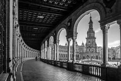 Plaza de Espaa - Sevilla II (Vctor M. G.) Tags: blackandwhite seville bw plazadeespaa andaluca sevilla arcos architecture starwars urban city arcs street flickrelite