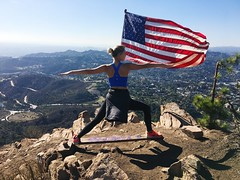 Warrior (melissaholinsworth3) Tags: almondmelk hollywood trail wisdomtree wisdom hiking hike flag americanflag america patriotic warrior yogi city skyline la losangeles yoga